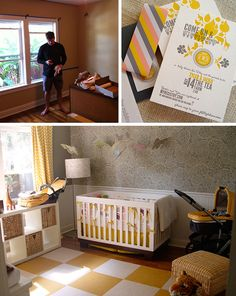 baby room..one day, not yet!  yellow and gray (like the curtains and ikea storage)