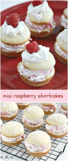 Mini Raspberry Shortcakes - Butter With a Side of Bread (mini fruit dessert) Mini Desserts, Easy Desserts, Delicious Desserts, Yummy Food, Raspberry Shortcake Recipe, Raspberry Recipes, Mini Cakes, Cupcake Cakes, Cupcakes