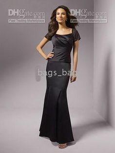 dhgate 2010 floor chiffon 3/4 sleeve Mother of the Bride Dresses dress gowns white black any color siz>>W29