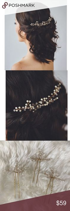"""Pearl & crystal hair wreath / hairpins Never worn. Gold in color. The headpiece features Opalescent and pearly buds blossom from handspun golden wire. The hair vine cultivate an aura of ethereal beauty and femininity. Wear one bridal comb or more for a variety of looks. The price is for THREE hairpins. This hairpiece accessory adds delicate and romantic touch to your wedding look.   DIMENSIONS: each hairpin is 2"""" x 1.5"""" (5 x 3cm) Jewelry"""