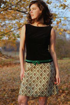 60s Drop Waist dress  velvet and tapestry