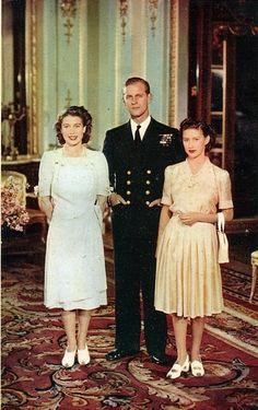 Princess Elizabeth, Prince Phillip and Princess Margret, I think this is Elizabeth and Phillip's engagement photo