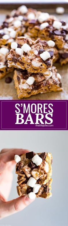 These S'mores Bars are one of the best easy recipes to throw together for a last minute party or get together. Made with Golden Grahams, marshmallows and chocolate chips, these are a great no bake dessert option that both kids and adults will love this su