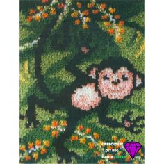 """Craftways carrot and bunny  Latch Hook rug banner Kit  11/"""" x  28/""""  new Easter"""