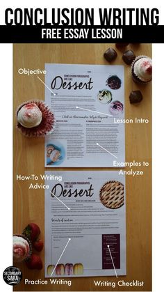 FREE Conclusion writing lesson for middle/high school essay writing! Find out why conclusions are like dessert.