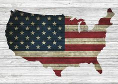 American flag in shape of map on wood poster by PureImageDesigns on Etsy