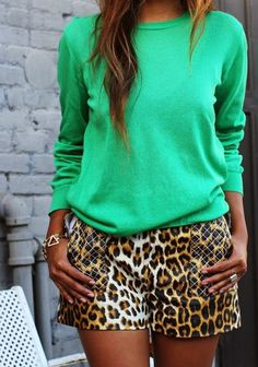 Adorable Leopard Shorts With Green