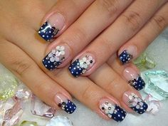 French tip, nail plate, rhinestones