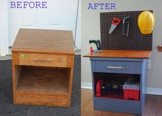 Turn an old bedside table into a kids tool bench! This will go with the real tool sets santa got the boys from bunnings Furniture Projects, Kids Furniture, Furniture Makeover, Diy Projects, Kids Tool Bench, Kids Workbench, Repurposed Furniture, Diy Toys, Diy For Kids