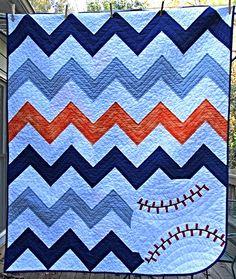 Chevron Baseball Baby Quilt