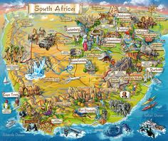 Illustrated map of South Africa – Map Collection South Africa Map, South Afrika, Cape Town South Africa, Out Of Africa, Thinking Day, African Safari, African Map, Africa Travel, Photos Du