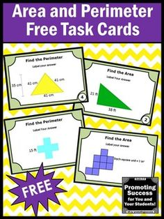 Perimeter task cards grade math stations: you will receive 6 geomet Math Card Games, Math Task Cards, Math Stations, Math Centers, Maths 3e, Area And Perimeter, Math Measurement, Fourth Grade Math, Math Classroom