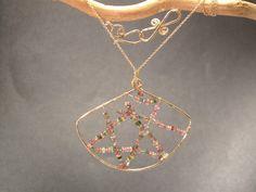 Hammered metal art mixed tourmaline beads Necklace 1-06
