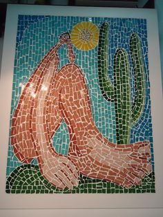 Abaporu - criação livre em mosaico inspirada na pintura de Tarsila do Amaral