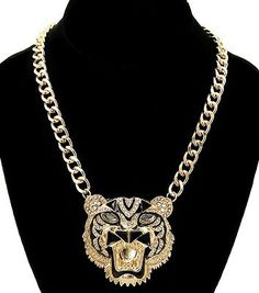 Cute Gold & Black Rhinestone Tiger Head Animal Fashion Jewelry Pendant Trendy Necklace Chain
