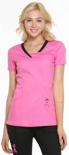 Scrubs - Heartsoul Pink With A Purpose Serenity Scrub Top, Breast Cancer Awareness Ribbon