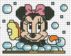 Ricami, lavori e schemi a puntocroce gratuiti: Disney baby cross stitch- Paperino,Topolino, Minnie, Pluto