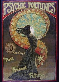 Psychic Fortunes Print - Art Nouveau Gypsy Circus Poster Art (many more by this artist Emily Balivet on Etsy) Posters Vintage, Retro Poster, Kunst Poster, Poster Art, Cirque Vintage, Vintage Art, Vintage Carnival, Vintage Stuff, Alphonse Mucha