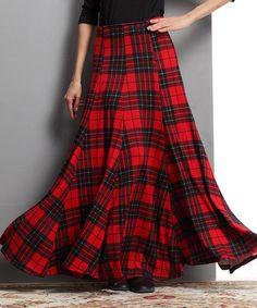 Another great find on #zulily! Red Glen Plaid Maxi Skirt #zulilyfinds