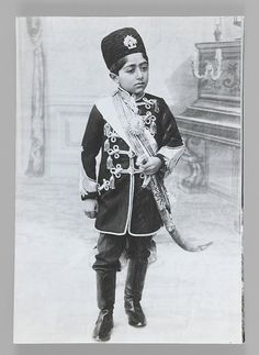 Portrait of Malijak Aziz al-Sultan or Ahmad Shah as a Young Boy, One of 274 Vintage Photographs Medium: Gelatin silver photograph Dates: ca. 1890 or Dynasty: Qajar Vintage Photographs, Vintage Photos, Al Sultan, Qajar Dynasty, The Boy King, The Shah Of Iran, Turkish Soldiers, Muslim Culture, Court Dresses