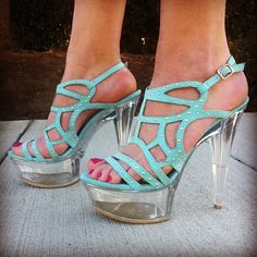 ::In the clear:: woman's fashion, glamour, high heels, style, design, teal, diva