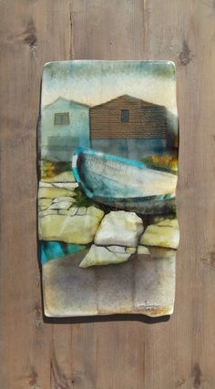 Old Boat/Peggy's Cove 09/12 - June Derksen. Fused glass frit painting, created in a collage manner.