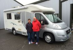 Sarah & Tim from Whitstable are pictured taking delivery of their first motorhome, A one x owner Chausson 72 Welcome from Shane Catterick at T C Motorhomes.  With an Island Bed and cavernous Garage, not to mention an excellent washroom, the 72 Welcome is an inspired choice by Sarah & Tim whose Caravan experience has stood them in good stead! Washroom, Fiat, Motorhome, Welcome, Caravan, Recreational Vehicles, The Twenties, Garage, It Is Finished