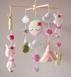 Llama Baby Mobile Llama and Cactus Crib Mobile Pom Pom Llama | Etsy Boho Nursery, Nursery Decor, Garland Nursery, Cot Mobile, Baby Crib Mobile, Craft Stick Crafts, Felt Crafts, Alpaca Plushie, Llama Plush
