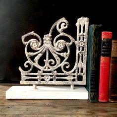 Cast Iron Vintage Bracket Bookends / Industrial Salvage / Cast Iron Vintage Bracket Bookends / Scrolled Chippy White Rustic Brackets by EllasAtticVintage on Etsy Vintage Home Decor, Cast Iron, Bookends, Sweet Home, Industrial, Cottage, Rustic, Bedroom, Store