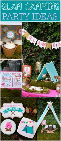 What a fun outdoor glamping party in pink and teal! See more party ideas at CatchMyParty.com!