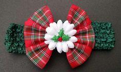 Baby Headband Christmas Headband Plaid by GloriaMillerCreation