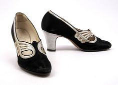 A pair of heels perfect for holiday parties. From the Society's footwear collection, these black satin pumps are embellished with glimmering silver 1920 Shoes, Vintage Shoes, Satin Shoes, Satin Pumps, Pretty Shoes, Beautiful Shoes, Walk This Way, Black Satin, Oxford Shoes