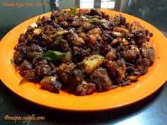 Kerala Pork Fry is a polular recipe in south Kerala. I came across this recipe from one of my friends grandma, she is from Kottayam Pala , . Veg Recipes, Curry Recipes, Indian Food Recipes, Great Recipes, Cooking Recipes, Kerala Recipes, Easter Recipes Indian, Interesting Recipes, Recipies