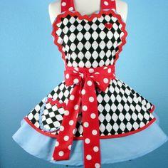 Wonderland Alice Hearts and Harlequin Croquet Apron