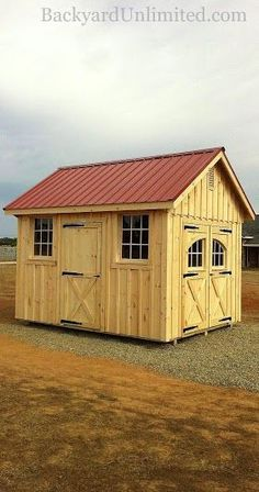 """10'x12' Garden Shed with Board & Batten Siding, Carriage House Doors, Additional Single Door, 7'6"""" Tall Wall Upgrade, 9-Lite Wood Windows, Metal Roof, and Gable Vents--Wilton, CA www.backyardunlimited.com/sheds.php"""
