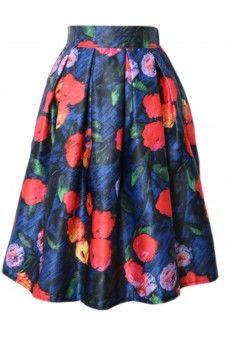 Floral Print Vintage Pleated Midi Length Skirt Blue/Black  Price: US 19.5 + Free Shipping