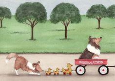 Shetland sheepdog (sheltie) family takes wagon ride / Lynch signed folk art print by watercolorqueen on Etsy