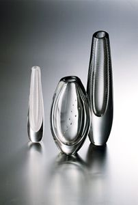The names of Gunnel Nyman's designs – Helminauha, Huntu, Ruusunlehti, Ovaali, Serpentiini, and many others – speak of a world of beauty and sensitive attention to detail and form. The plasticity of the thick glass she used, its sculptural qualities, harmony, delicate balance of light and proportion, and sheer intensity have rarely, if ever, been matched by any other designer in Finland.