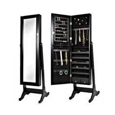 Full-Size-Mirror-Jewelry-Armoire-Cabinet-Standing-Storage-Bed-Room-Organizer-Box