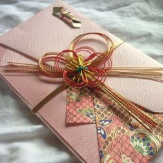 Large Pink Kinpu Japanese Decorative Wedding Money Envelope With Japanese Paper String Gold Red omamori