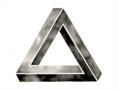 Large Original Watercolor. Impossible Triangle Art by GeometricInk