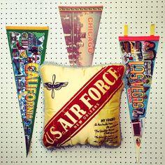 Vintage souvenir pennants + pillows available on Etsy (www.thatgypsysoul.etsy.com) #americana #pennants #souvenirs #roadtrips #vintagedecor #vintagestyle #retro #california #lasvegas #chicago #neworleans