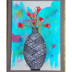 One of my various Art Projects! #zentangle #flowers #watercolor #vase #art