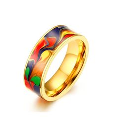 Classic jewelry Abstract Oil Painting ring 7MM Stainless Steel Enamel Ring for Men support dropshipping #Affiliate