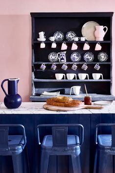 Trending: Pink Kitchens. Get Inspired With These 18 Pink Kitchen Ideas | Livingetc % | LivingEtcDocument.documentType% Life Kitchen, Kitchen Decor, Pink Kitchen Designs, Pink Cabinets, Kitchen Trends, Kitchen Ideas, Shaker Kitchen, Kitchen Canisters, Napoleonic Blue