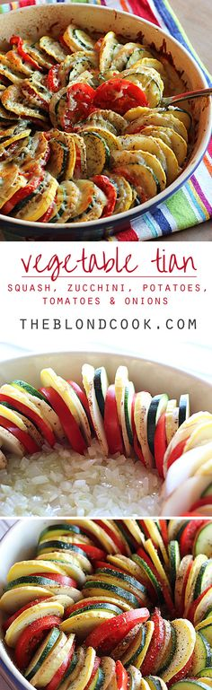 Vegetable Tian ~ thinly sliced squash, zucchini, potatoes and tomatoes on a bed of onions with seasonings and cheese... a beautiful and delicious side dish! | theblondcook.com