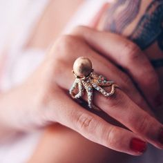 #Regram from @natachabirds, she wears very well our ring Fond Marin  #cute #octopus #ring #lesnereides #jewelry #Fashion #blogger #repost #mermaid