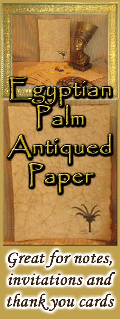 Whether you're designing an original scrapbook page, invitations for an Egyptian or Middle Eastern theme party or creating your own piece of art, you'll find these palm tree themed, hand antiqued sheets of paper incredibly fun to work with. The four step aging process transforms regular parchment paper into paper that looks hundreds of years old with hints of gold! It not only LOOKS antique…but it FEELS antiqued, as well!