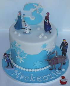 Frozen birthday cake. Find me on Facebook (Driving Me Cakey) for more photos of my work or contact me via e-mail, drivingmecakey@gm... to enquire about an order. Located Fairview Park, South Australia.