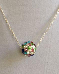 Multi Color Crystal Ball Necklace by joytoyou41 on Etsy, $22.00